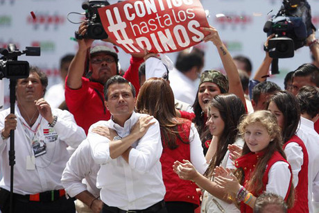Enrique Pena Nieto, presidential candidate of the opposition Institutional Revolutionary Party (PRI), at the Azteca stadium in Mexico City (Reuters)