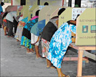 Officials at Gaire village conducted peaceful polling where thousands of villagers braved the heat. (Tarami Legei/Post-Courier)