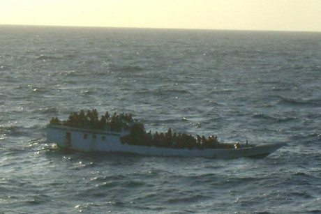 The asylum seeker boat before it capsized (Photo credit: the merchant vessel MV Bison Express)