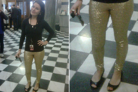 Laura McQuillan in her &quot;tight and stretchy and bedazzled&quot; pants