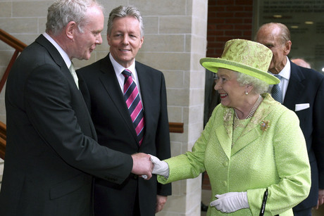 Queen Elizabeth shakes hands with Northern Ireland deputy first minister Martin McGuinness (Reuters)