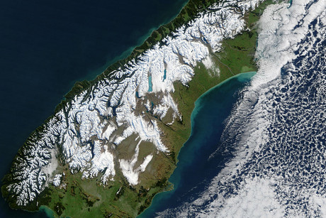 The Alpine Fault runs most of the length of the South Island