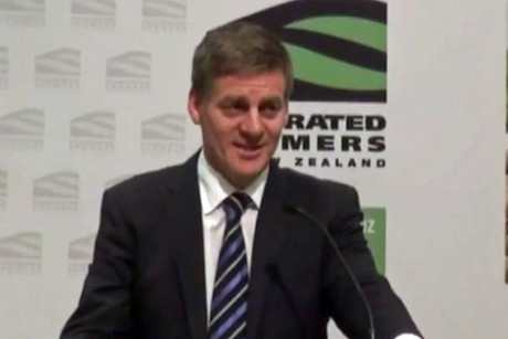 Deputy Prime Minister Bill English talking at a Federated Farmers meeting today