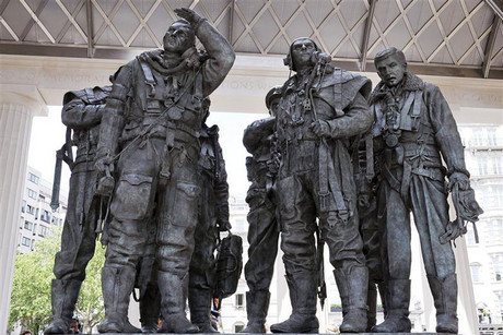 The memorial to Bomber Command is seen after it was unveiled by Britain's Queen Elizabeth in Green Park, central London (Reuters)