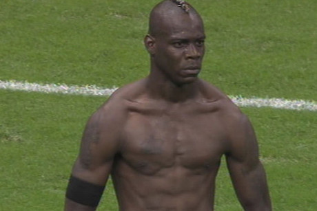 Mario Balotelli with two great goals and a pretty cut physique (earning him a yellow card)