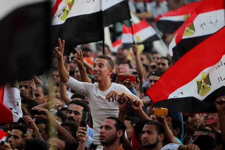 Egyptians, supporters of Presidential candidate Mohamed Morsi, celebrate (AAP)