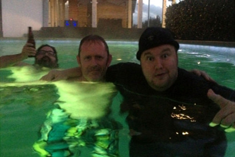 Vaughn Davis and Kim Dotcom in the pool