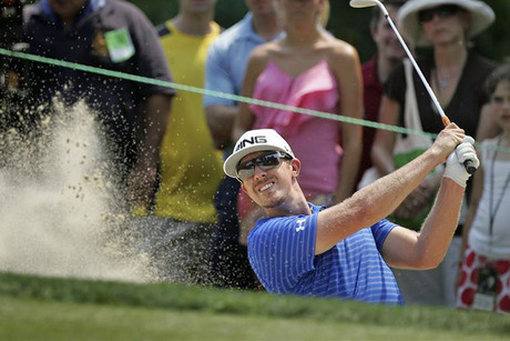 Mahan plays a shot from a bunker