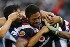 Manu Vatuvei is tied up against the Storm (Photosport)