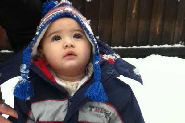 Six-month-old Talan Stewart from Rangiora, enjoying his first snow day (Tania Stewart)