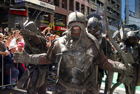 An Uruk-Hai marches in a parade in honour of the premiere of The Lord of the Rings: The Two Towers in 2002 (Getty)
