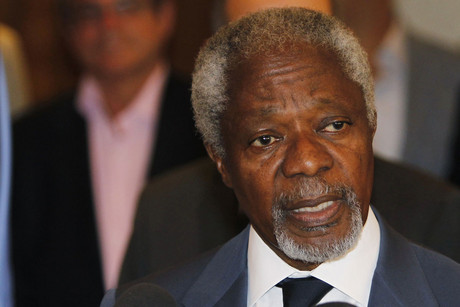 Kofi Annan in Syria following a meeting with the Syrian president (Reuters)