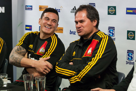 Sonny Bill Williams and Dave Rennie at yesterday's press conference (Photosport)