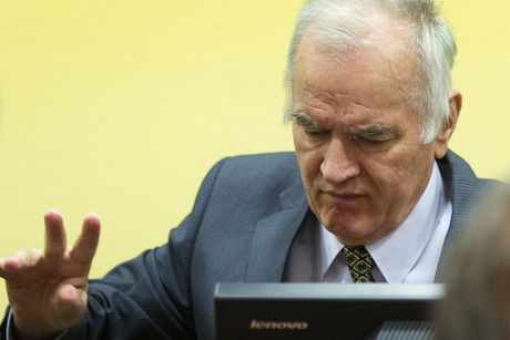 Former Bosnian Serb army commander Ratko Mladic attends his trial (Reuters)