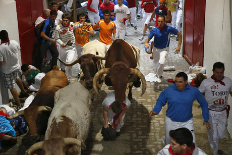 A steer jumps over a fallen runner at the entrance to the bullring (Reuters)