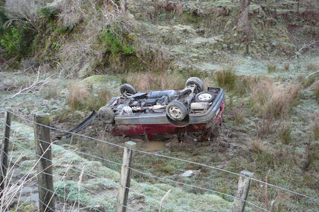 The peoplemover which rolled off the road, injuring eight people (Taranaki Rescue Helicopter Trust)