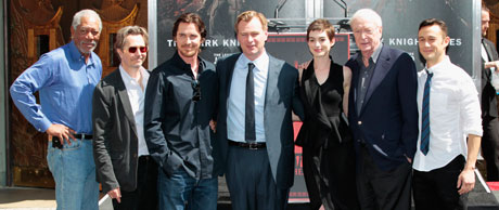 The Dark Knight Rises cast by Grauman's Chinese Theatre in Hollywood (Reuters)