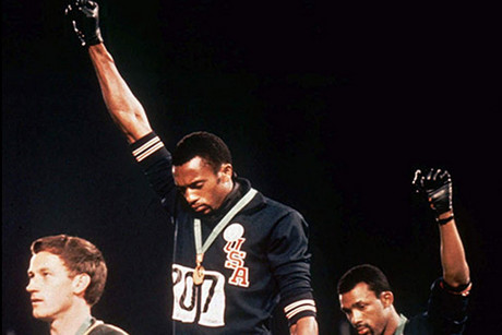 Tommie Smith, centre, and John Carlos and the 1968 Black Power salute, Mexico City