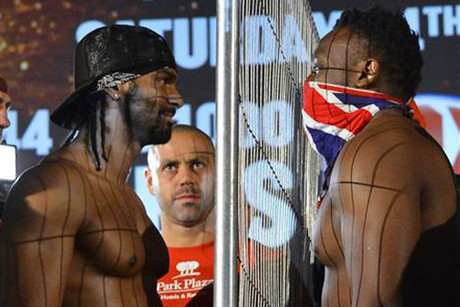 David Haye, left, and Dereck Chisora go face-to-face (Reuters)