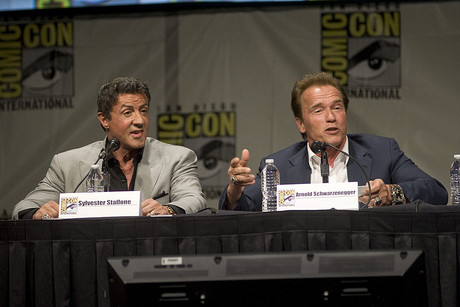Sylvester Stallone and Arnold Schwarzenegger at Comic-Con 2012 (AAP)