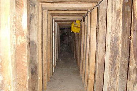 The interior of a cross border tunnel is shown in this police picture  (Photo: Reuters)