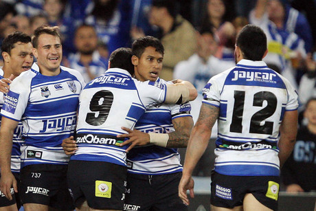 Bulldogs players celebrate with Ben Barba after his stunning field-length try (Photosport)