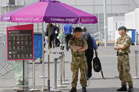 Soldiers man a security checkpoint at the London Olympic park  (Photo: Reuters)