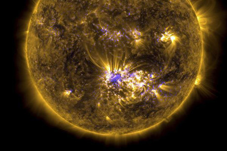 The sun is pictured in this NASA handout satellite image taken shortly before it released an X-class flare (Reuters)