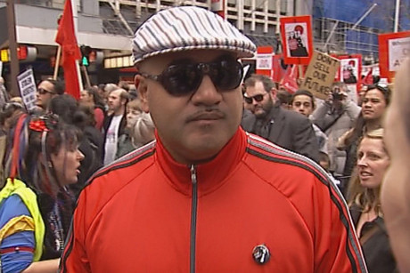 Hip-hop artist King Kapisi was among the protesters in Auckland today