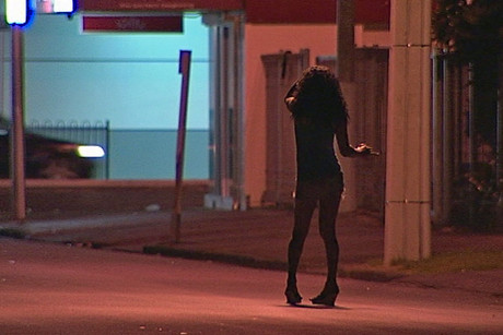 "At night, sex workers and their customers roam the streets of ""Hunters' Corner"""