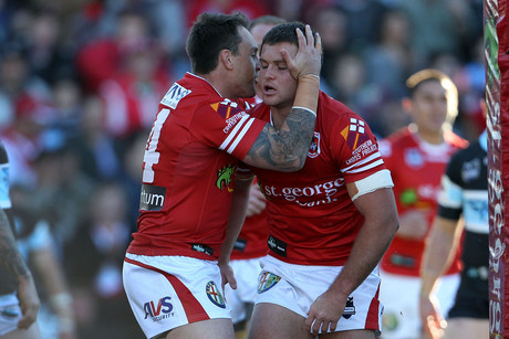 Mitch Rein celebrates his try for the Dragons (NZN)