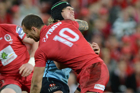 Quade Cooper's tackle in question, on Warratahs' Berrick Barnes (NZN)