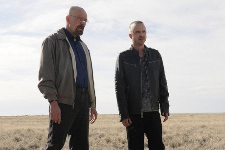 Bryan Cranston as Walter White and Aaron Paul as Jesse Pinkman in Breaking Bad