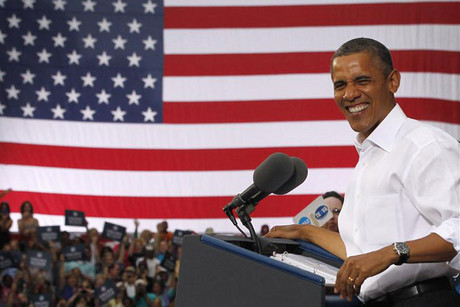 US President Barack Obama at an election campaign rally in Roanoke, Virginia (Reuters)
