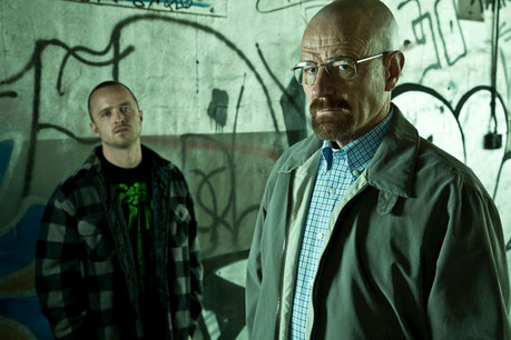 Bryan Cranston and Aaron Paul in a promotional image for Breaking Bad season five