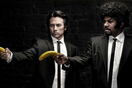 Lookalikes recreate the famous scene from Pulp Fiction - with bananas (Photo: Nick Stern)