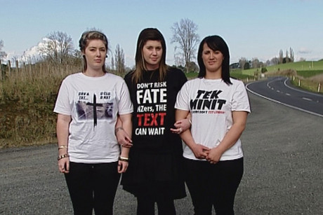 Three young women are on a campaign to stop people texting while driving