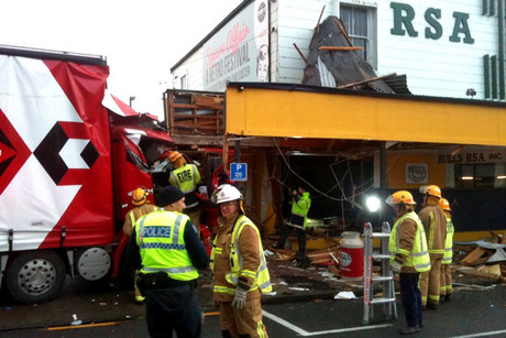 The truck crashed into the RSA building shortly after 3:30am