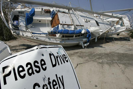 Sailboats sit in the parking lot of the South Shore Marina on Lake Pontchartrain in New Orleans, September 21, 2005 (Reuters)
