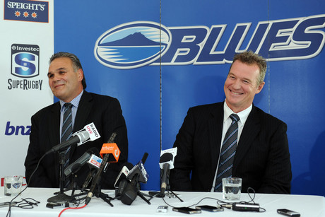 Sir John Kirwan is announced as the new Blues coach for the 2013/14 Super Rugby seasons as Blues Chairman Gary Whwtton looks on during a press conference at Eden Park, Auckland (Photosport)