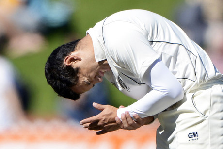 Ross Taylor in pain after being hit on the wrist (Photosport file)