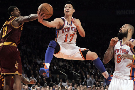 Jeremy Lin (C), seen here playing for the the New York Knicks, is now heading back to the Houston Rockets (NZN)