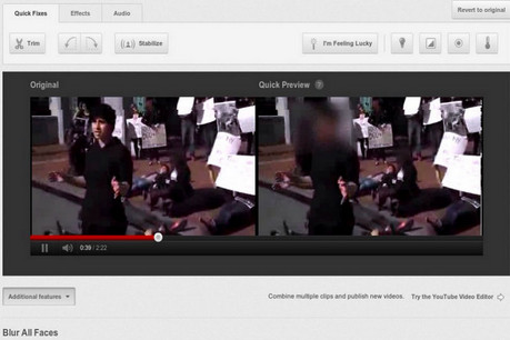 The blurring in action, as shown on YouTube's blog 