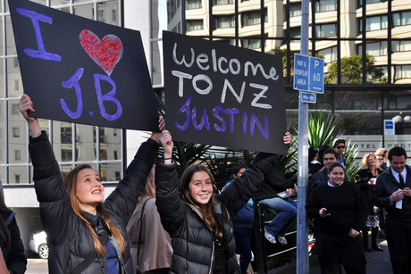 Fans outside Justin Bieber's hotel today (AAP ONE)