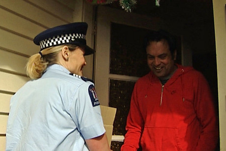 Manurewa police hand delivered a food parcel to Jaswinder, from a family with a history of domestic abuse