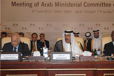 Members of the Arab League at a committee meeting in Doha in June  (Photo: Reuters)