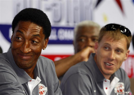 Scottie Pippen has a laugh at the news conference