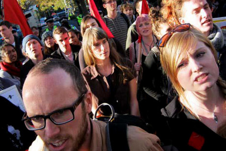 Students at a June 1 protest against the education cuts