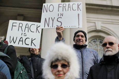 Fracking opponents in New York (Reuters)
