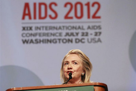 Clinton speaks at the International AIDS 2012 conference in Washington (Reuters)
